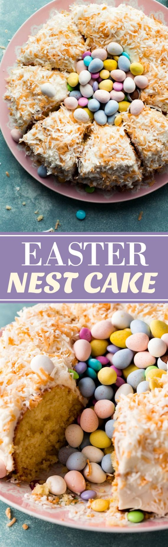 A stunning and easy dessert, this coconut Easter nest cake will impress everyone around the Easter dinner table! Recipe on sallysbakingaddiction.com