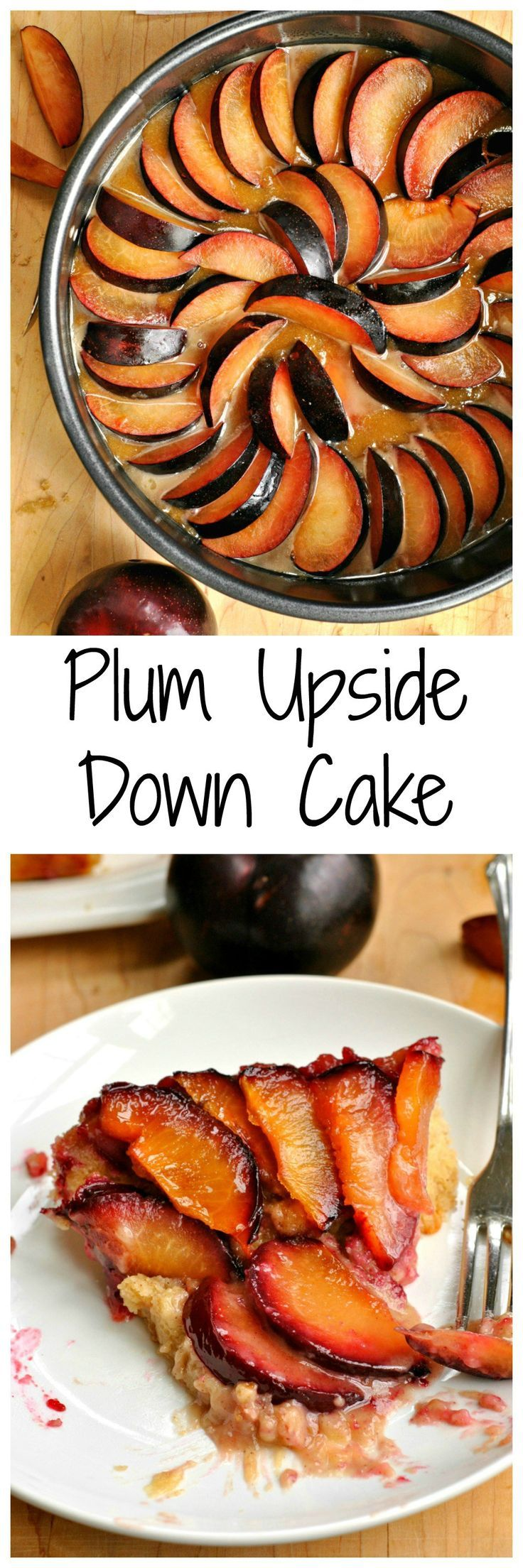Fresh sliced plums arranged in a layer make this Plum Upside Down Cake so pretty! The plums are covered in a light caramel sauce and the cake below is light and airy!