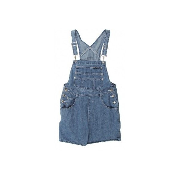 Mid Blue Denim Short Dungarees W31 ❤ liked on Polyvore featuring overalls, shorts, rompers and dresses