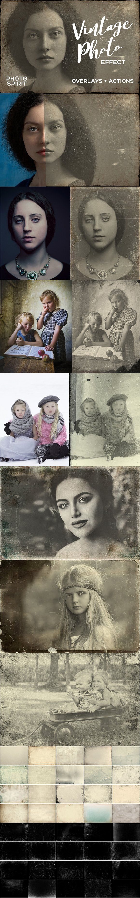 Vintage Old Photo Effect Overlays by PhotoSpirit on @creativemarket