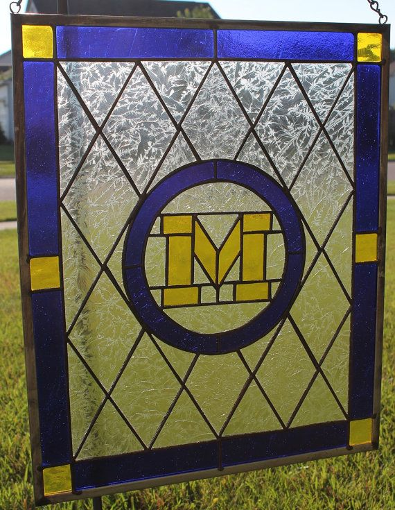 University of Michigan Stained Glass Window by GlassByGary on Etsy, $199.00