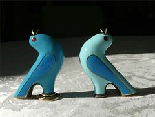 Figural Blue Bird Enamel Sterling Silver Salt & Pepper Shakers J. Tostrup Norway