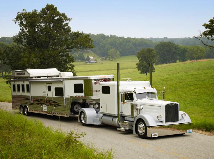 White Single-Axle Peterbilt and Horsetrailer | Big Rigs ...