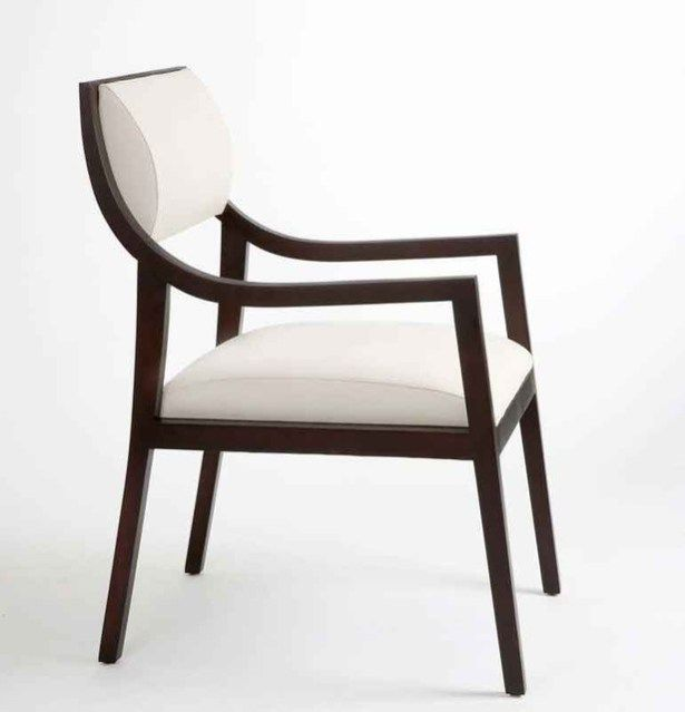 Contemporary Dining Chairs Brown Wooden Arms And Legs White Fabric Contemporary  Dining Chairs