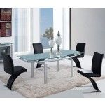 Global Furniture - 5 Piece Frosted Glass Dining Table Set - D88DT-SILVER-5Set  SPECIAL PRICE: $936.78