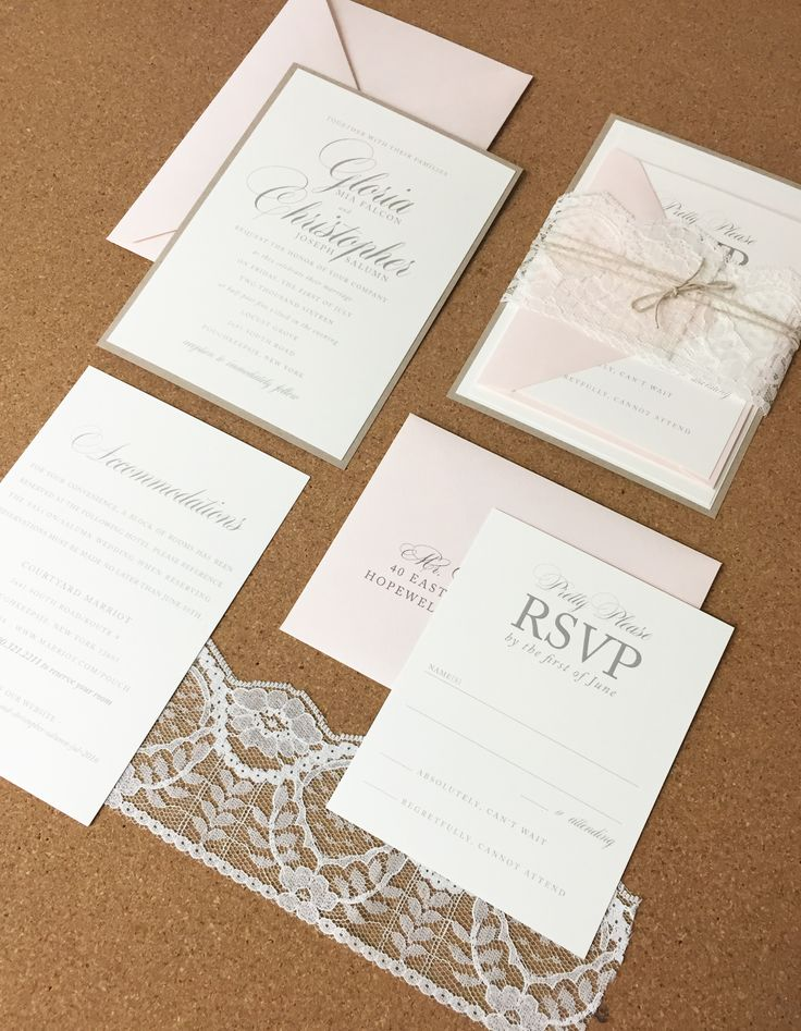 champagne blush wedding invitations%0A Wedding Invite  Simple  Soft  Neutrals  Blush  Ivory  Lace  Twine