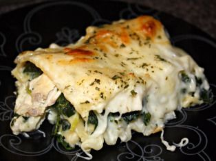 Cheesy Chicken and Spinach Lasagna. I'm pretty sure this is the recipe my mother in law gave me if it is, it is to die for.