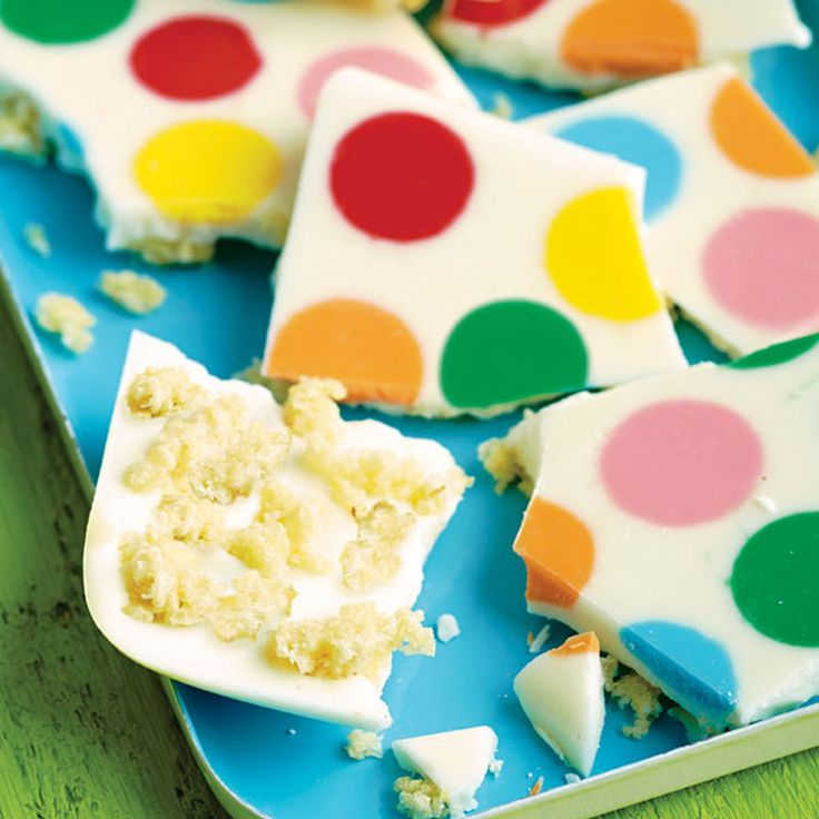 This treat will satisfy everyone?s sweet tooth, and it couldn?t be easier! Create the dot shapes by melting individual Candy Melts candy wafers on a cookie pan, then adding melted white candy and your favorite crisped rice cereal treats.