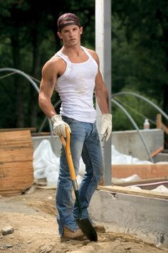 Hot Construction Worker Muscle Jock In Tank Top With Biceps