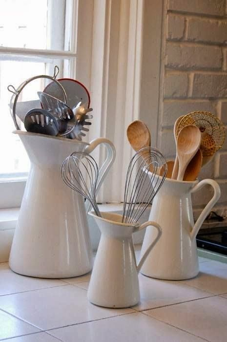 White Pitcher Vignette of Kitchen Utensils! Kitchen Decor ideas......See more at thefrenchinspiredroom.com