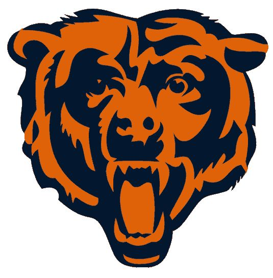 Chicago Bears Alternate Logo (1999) - A modernised blue and orange bear head roaring