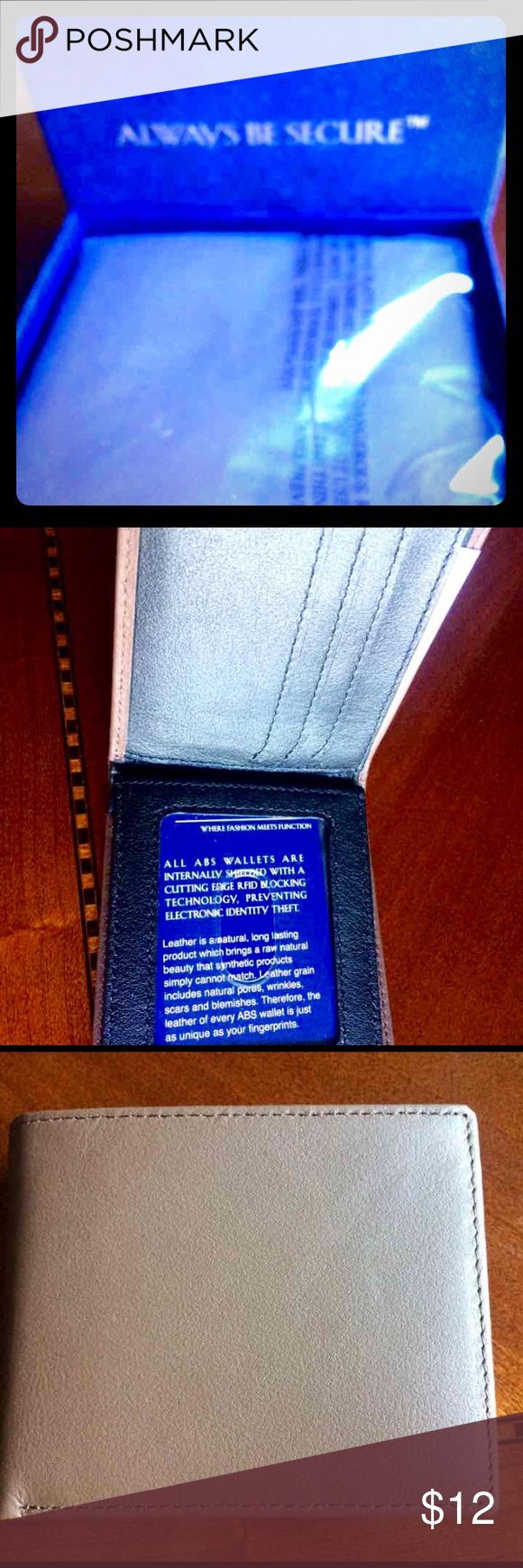 RFID Men's Wallet (QVC) Stocking Stuffer Great holiday gift or stocking stuffer. Brand new in box. Bi-fold wallet in brown. Retail $35.   Features RFID technology that blocks radio frequency identification and helps keep your credit cards safe. From Always Be Secure.  RFID technology blocks radio frequency identification  Currency holder  Six credit cards slots  Not all cards contain RFID chips--this product only helps protect cards with RFID chips  Body 100% leather; lining 100% polyester…