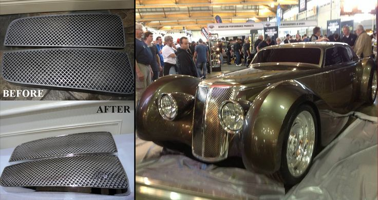3d printed grill before and after chrome plating + final result