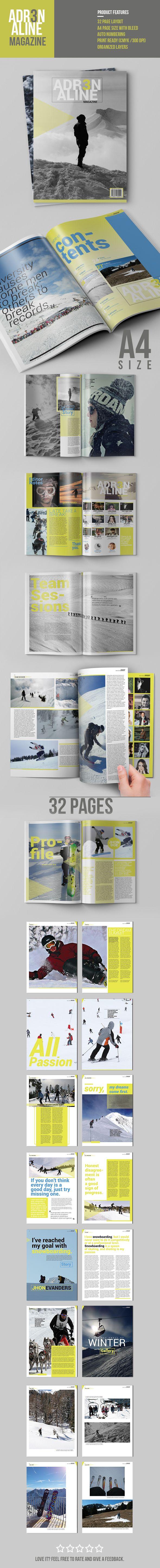 Adrenaline Magazine Template on Behance