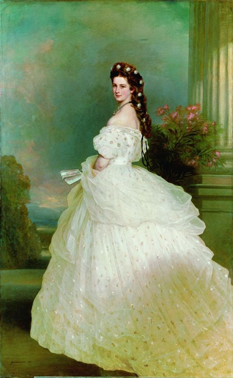 """Empress Elisabeth of Austria, """"Sisi"""" in a fluffy, starry evening gown with a similar premise as the green-trimmed pinstripe one above. This fairytale gown was deisgned by Charles Worth."""