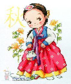 Girls-in-hanbok-coréen-Costume-Quatre-Saisons-cross-stitch-chart-SO-G83