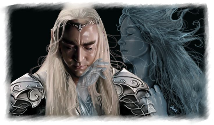 """I never forget you"" ~ this is one of the most beautiful Thranduil fanart I've seen, props for LadyMintLeaf!"