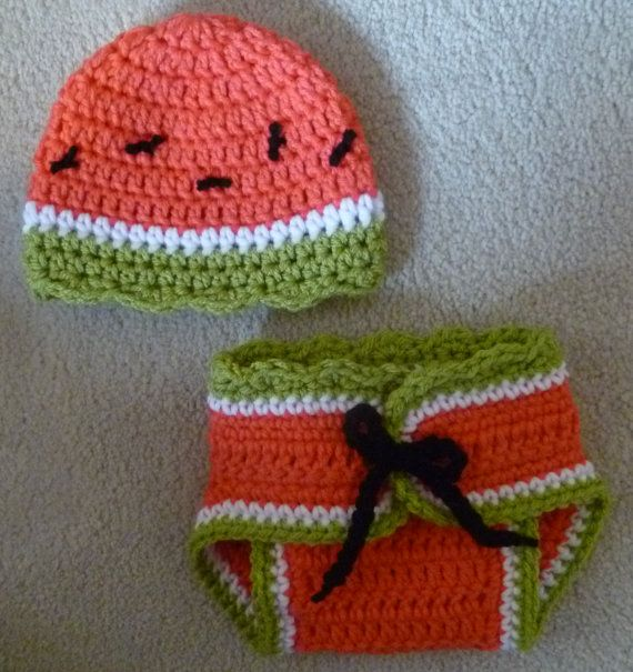 Watermelon photo prop diaper cover hat set. CUTE CUTE CUTE for summer babies!