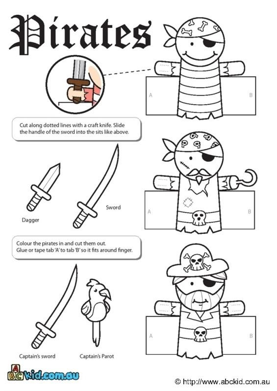 Vingerpoppetjes piraat en kapitein