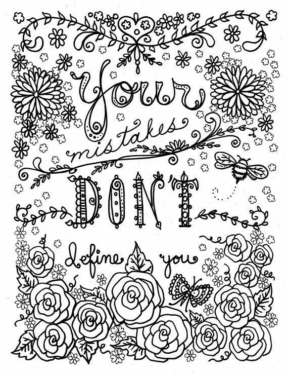 Quote Coloring Pages Adult Books Be Brave Line Art Zentangle Counseling Black And White To Color