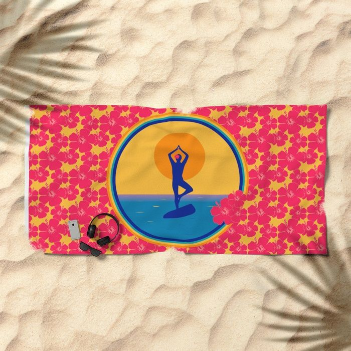 Yoga on a SUP - Paddle Board Beach Towel by Maria Kent Studio | Society6