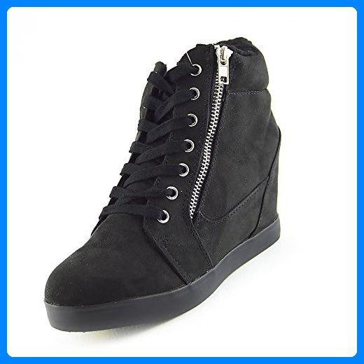 Kick Schuhe Damen Keilabsatz Stiefeletten - UK 7 / EU 40, Schwarz - Stiefel für frauen (*Partner-Link)