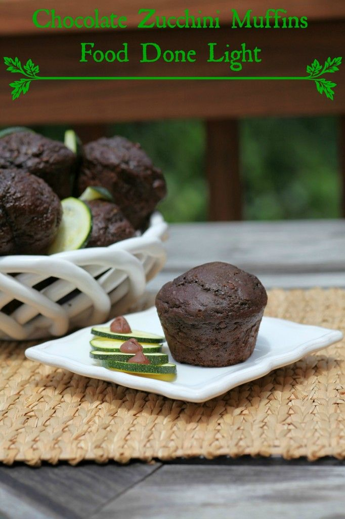 Chocolate Zucchini Muffins Food Done Light #muffins #chocolaterecipe #zucchinibread