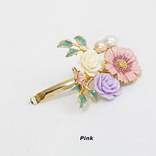 1Pcs Fashion Flower Spin Bobby Pin Hair Clips Lady Hairpin Accessory Pink YSF