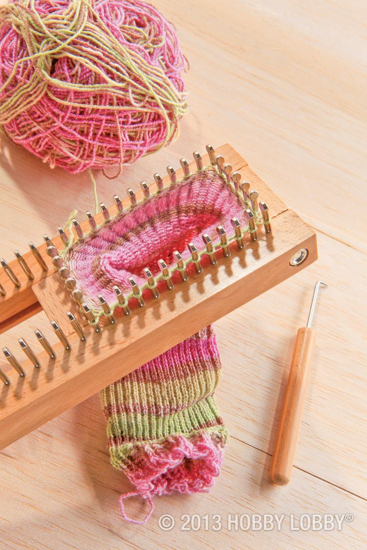 Who needs knitting needles? You can knock these socks out with help from our easy-to-use sock loom. Move the center slider to accommodate any size, then use a simple wrap and hook technique to weave your way to a one-of-a-kind design!