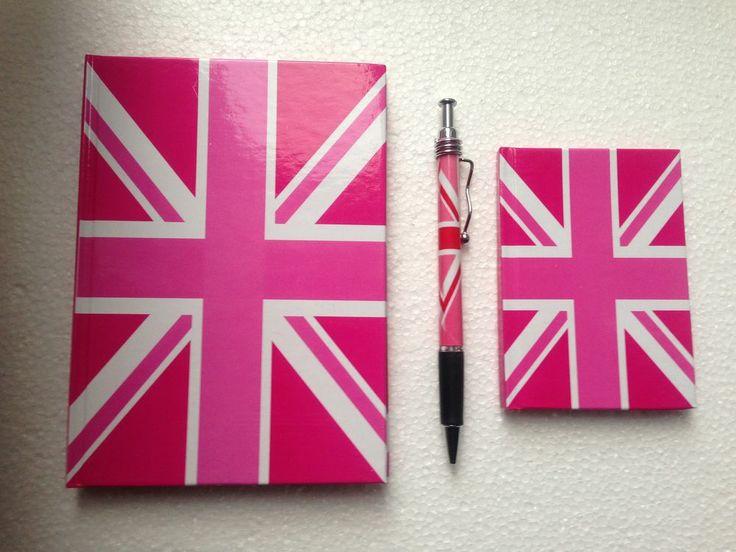 Union Jack Souvenir Note Book,Address Book and Pen Gift Set,( Pink ) SALE