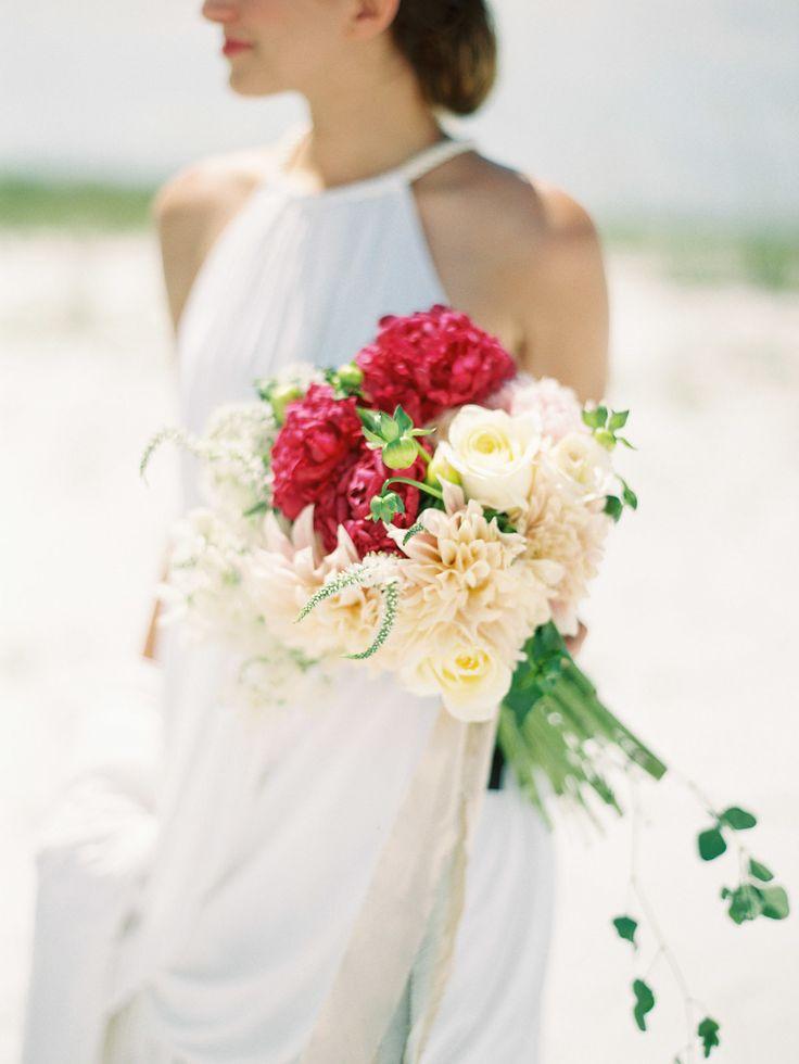 #bouquet beach wedding inspiration   Photo: Lauren Kinsey Read more - http://www.stylemepretty.com/2014/01/17/beach-elopement-wedding-inspiration/