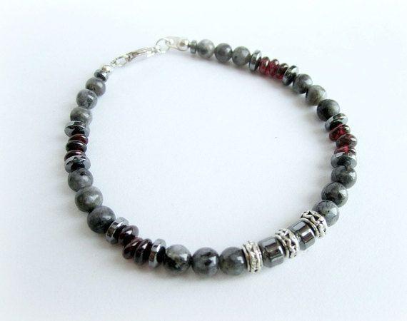Mens gemstone beaded bracelet mens larvikite by Bravemenjewelry