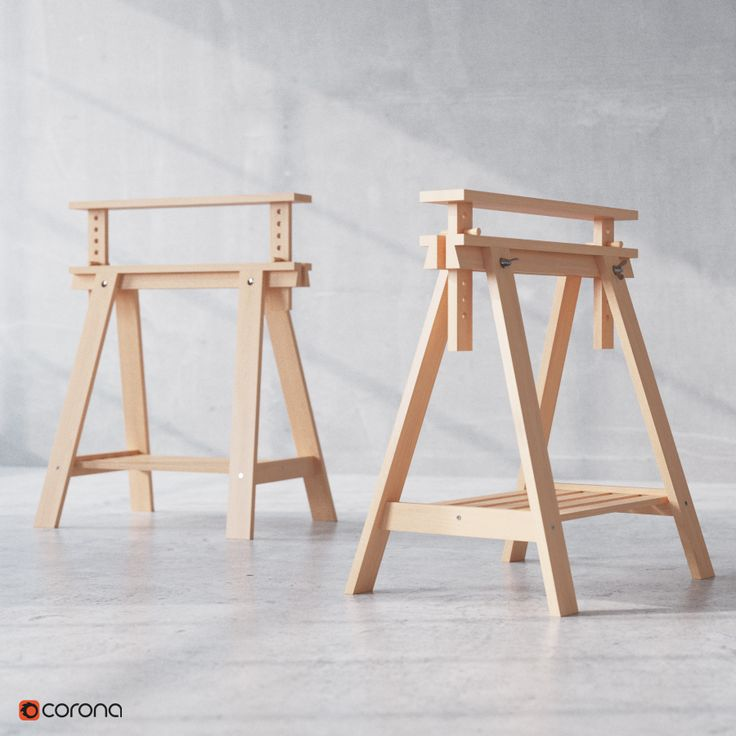 IKEA FINNVARD Trestle with shelf | Vladimir Pospelov 3d artist Blog