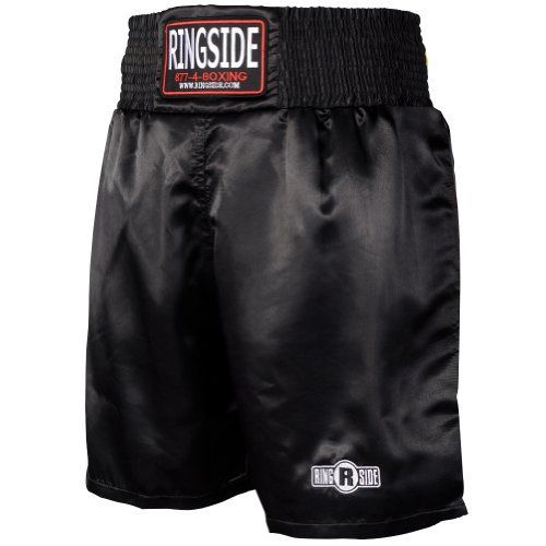 Ringside Pro-Style Boxing Trunks (Black, Large) - http://www.exercisejoy.com/ringside-pro-style-boxing-trunks-black-large/boxing/