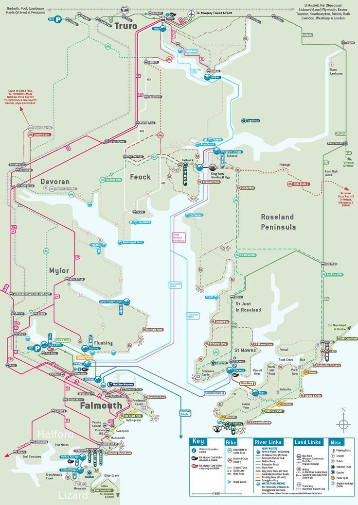 Fal River Links Map Falmouth Cornwall