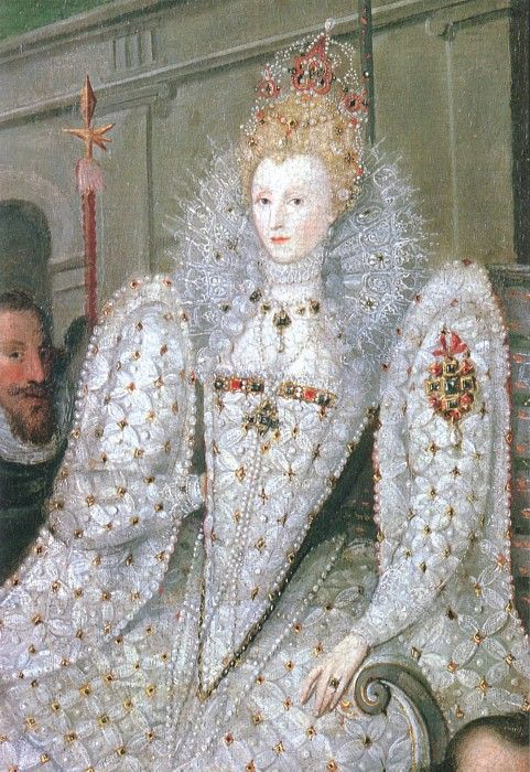 "A detail of Elizabeth I from ""Queen Elizabeth Going in Procession to Blackfriars"", which is attributed to both Marcus Gheeraerts the elder and Robert Peake. Read about the Queen's visit to the wedding here: http://www.beingbess.blogspot.com/2012/06/on-this-day-in-elizabethan-historyjune.html"