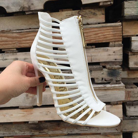 88.00$  Watch more here  - Sexy Bianco Peep Toe Sandali Gladiatore Estate 2017 di Alta Qualita In Vera Pelle Con Cerniera Donna Sandalo Stivali Donna scarp