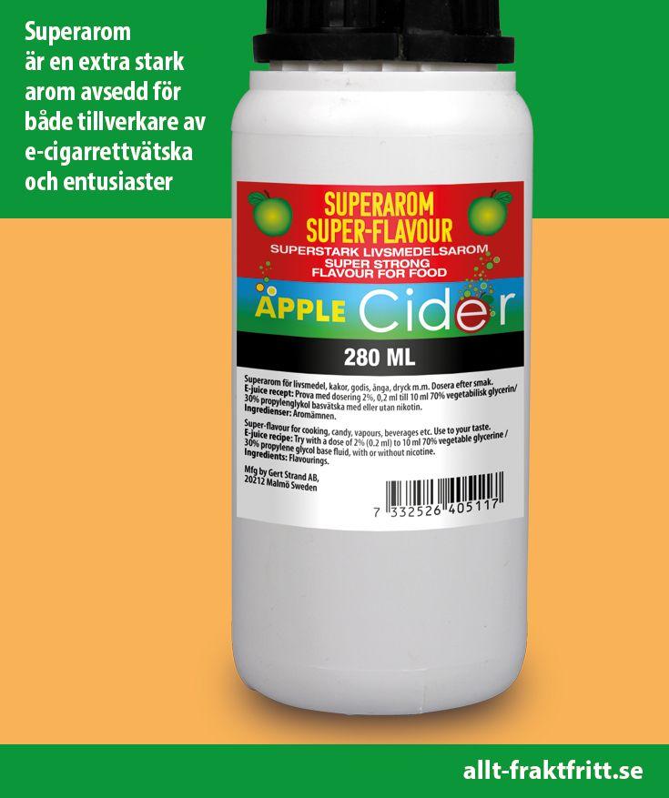 Superarom Apple Cider 280 ML. Starka aromer som ger smak till e-juice, godis, drycker och många andra livsmedel.