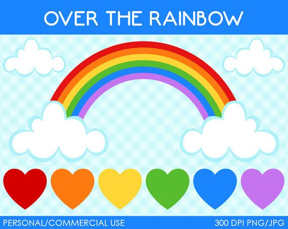 Rainbow Clipart - Digital Clip Art Graphics for Personal or Commercial Use