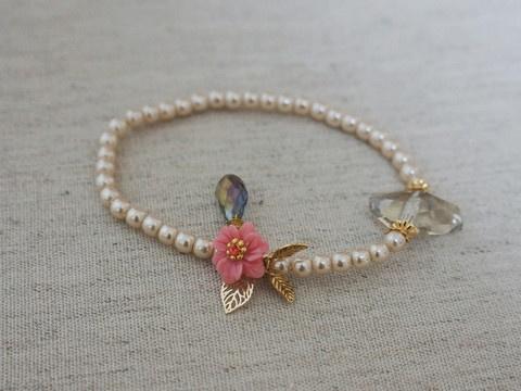Gold plated Coral Flower, Pearl, Swarovski bracelet Bracelet, feminine, Bridesmaid Jewelry - Bridesmaid bracelet