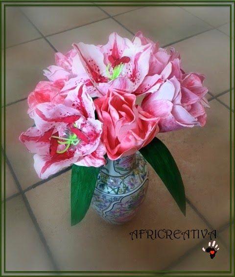 AFRICREATIVA: TULIPANI e LILIUM rosa con riciclo di VASETTI DELLO YOGURT (regali per la FESTA della MAMMA)