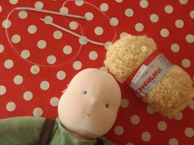 Nestled Under Rainbows: knitted waldorf doll wig tutorial
