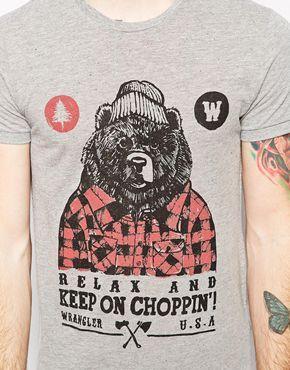 Enlarge Wrangler T-Shirt Slim Fit Heritage Lumberjack Bear Print