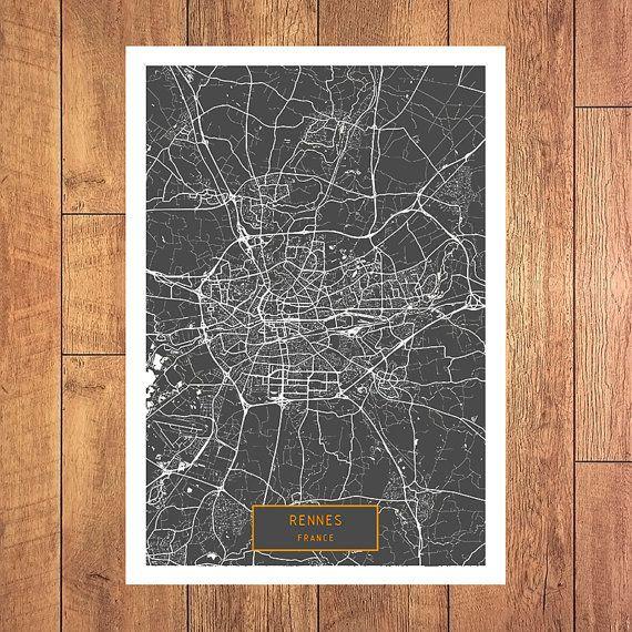 RENNES France CANVAS Large Art City Map Rennes by JackTravelMap