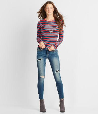 Seriously Stretchy Medium Wash Rip & Repair Ankle Jegging - Aeropostale