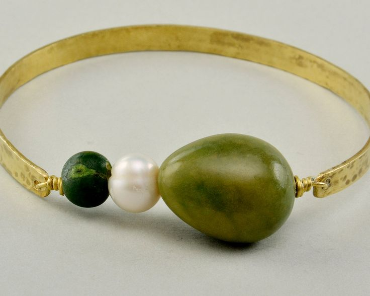 Gold hammered cuff bracelet, tagua bracelet, green bead bangle, brass closed bangle, pearl cuff, minimal jewelry, gift for her under 25 by ColorLatinoJewelry on Etsy