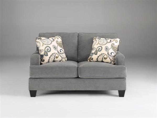 Yvette Casual Steel Fabric Cushion Back Loveseat