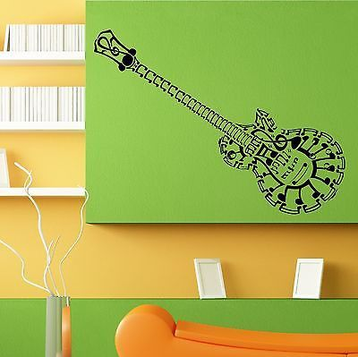 Guitar Musical Instrument Music Notes Wall Sticker Decal Room Decor L070 Part 93