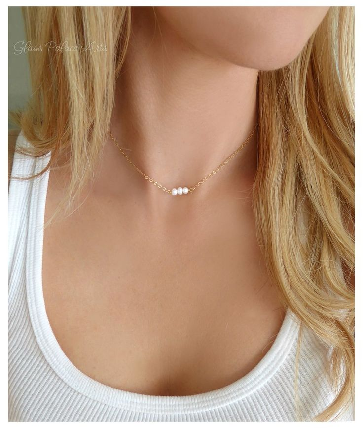 Pearl Choker Necklace With Dainty Freshwater Pearls