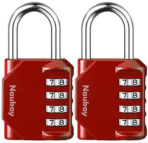 Padlocks, [2 Pack] 4 Digit Combination Lock for Gym, Sports, School & Employee Locker, Outdoor, Fence, Hasp and Storage - Red  ❤Widely used: This 4 digit combination padlock is ideal for home, office, school, employee, gym & sports locker, case & cabinet, hasps & storages and more.  ❤Easy to Set Your Own Keyless Resettable Combo.  ❤Good Security - 10000 combination codes formed by 4 digit numbers make it safe enough for light duty use.  ❤Sturdy Construction - Durable structure of zinc ...
